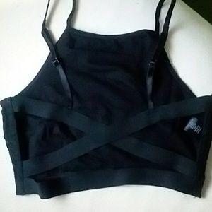 Black Strappy Back Halter Bralette